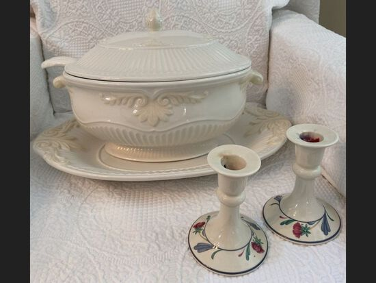 Lenox Soup Tureen and Candle Holders