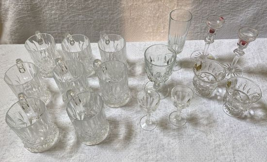 Lot of Crystal Glasses and Coffee Mugs