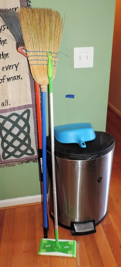 Stainless Steel Trashcan with Insert and (2) Brooms