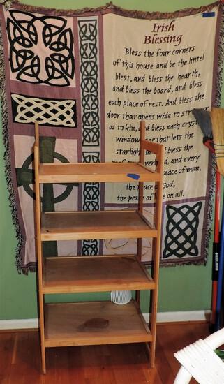Wooden Shelf with Irish Blessing Blanket