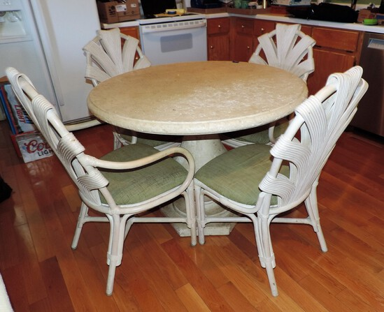 Rattan Style Kitchen Table and 4 Chairs