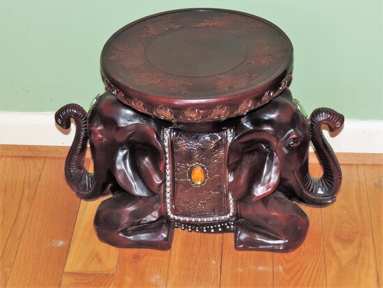 Wooden Elephant Plant Stand