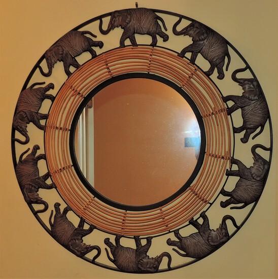 Round Elephant Wall Mirror