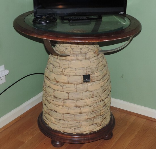 Neat Beehive Table with Glass Top