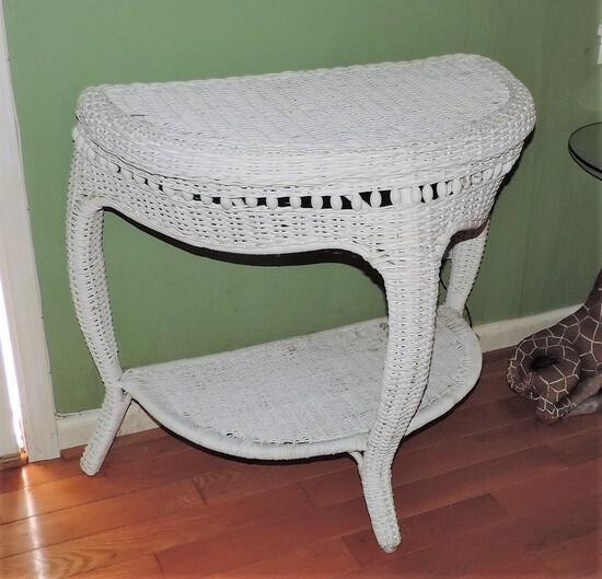 Vintage White Wicker Table