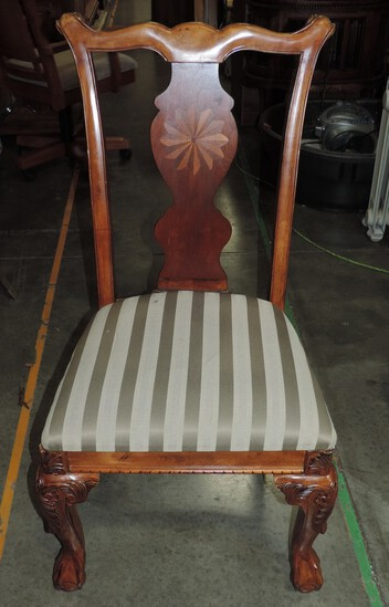 Ashley Furniture Carved Chippendale Inlaid Side Chair