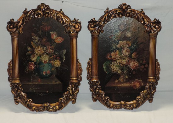 Fancy Gold Framed Oil On Board Faux Painting Of Flowers In Vase