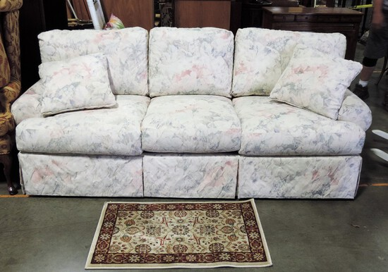 Floral Upholstered Bernhardt Sofa & Small Oriental  Style Rug