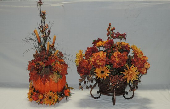 Lot Of 2 Artificial Flower Fall Scene Displays