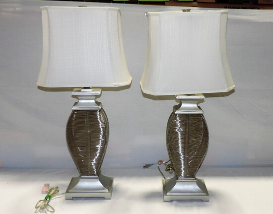2 Silver Wire Modern Design Table Lamps