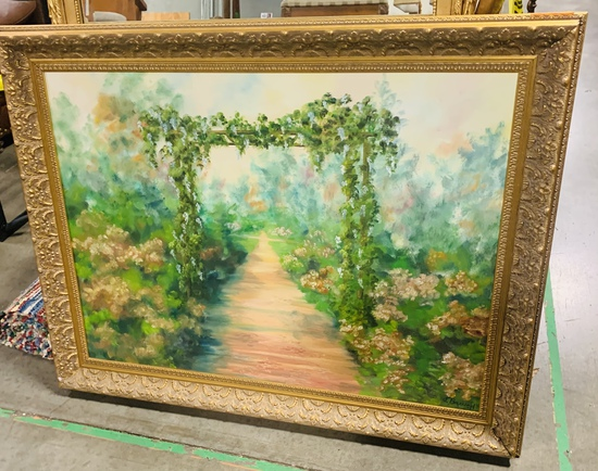 Signed J. Branch Oil On Canvas Garden Scene
