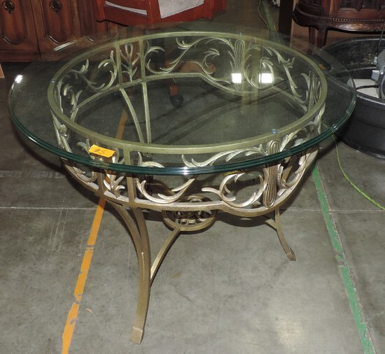 Ornate Iron Glass Top Table