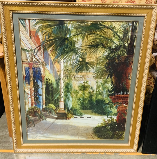 Color Interior Fern Garden Print In Gold Carved Frame