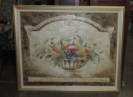 Large Signed Oil On Canvas Fruit Basket