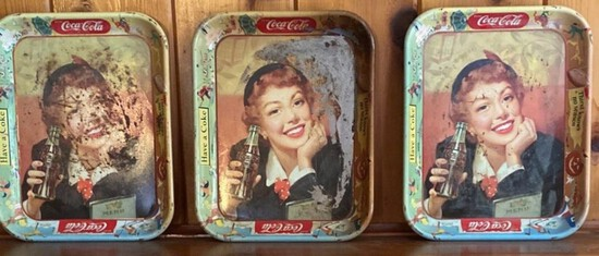 Lot of 3 Vintage Coca-Cola Trays
