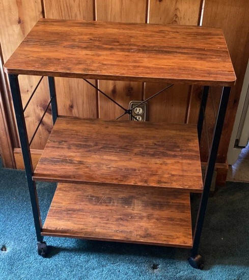 3-Tier Wood and Metal Rolling Cart