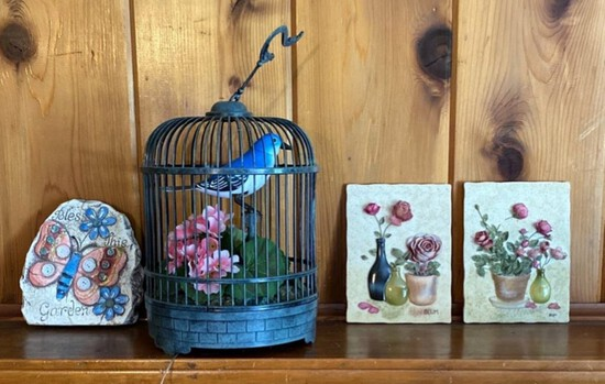 Caged Bird, Flower and Butterfly Decor