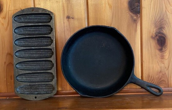 Lot of Cast Iron Corn Bread and Frying Pan