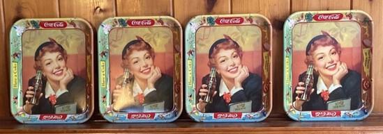 Lot of 4 Vintage Coca-Cola Trays