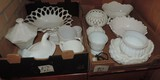 Two boxes of Milk Glass