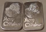 Two 1 oz. Silver Bars Santa Claus