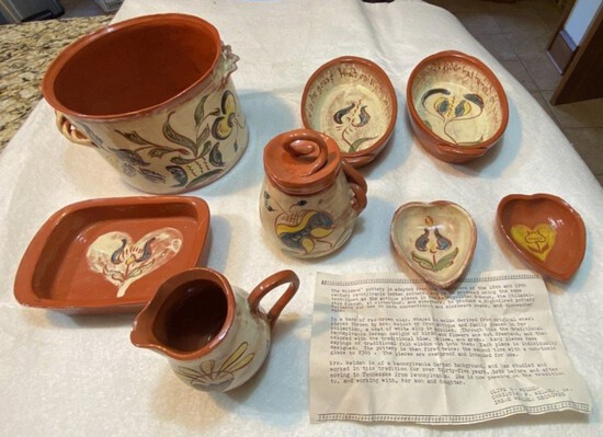 Eight-Piece Lot of Olive S. Weldon Signed Pottery