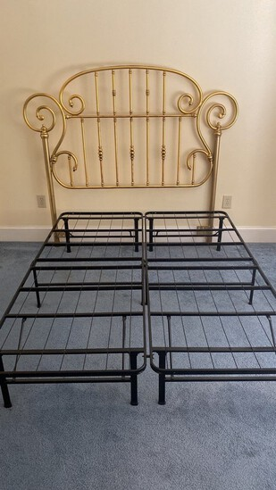 Queen Brass-Style Bed with Mattress Supports