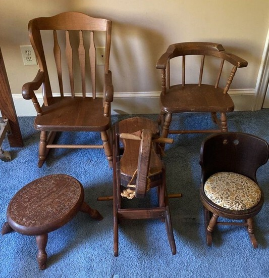 Lot of Wood Children's Chairs, Stool and Rocker