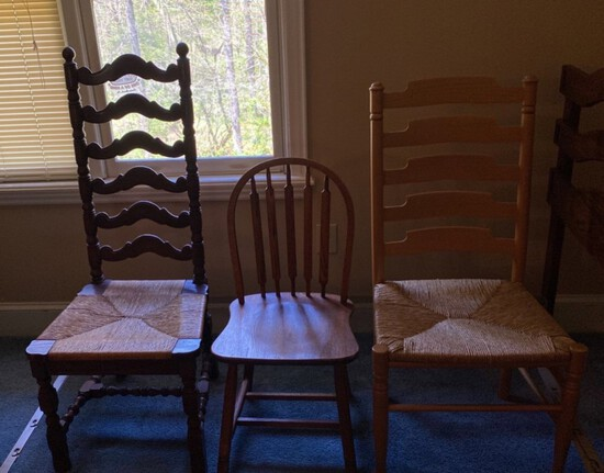 Lot of Three Wood Chairs