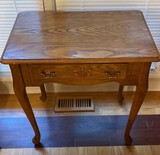 Tall Oak Side Table with Drawer