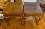 Two Oak-Side Tables Each with Single Drawer