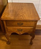 Oak Side Table with Two Drawers