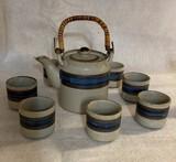 "Hand-Crafted Otagri Original Stoneware ""Horizon"" Pattern Japanese Tea Set"