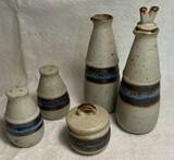 "Hand-Crafted Otagri Original Stoneware ""Horizon"" Pattern Condiment Set"