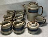 "Hand-Crafted Otagri Original Stoneware ""Horizon"" Pattern Tea Set"