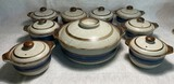 "Hand-Crafted Otagri Original ""Horizon"" Pattern Lidded Casserole Dish and Soup Bowls"
