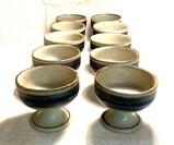 "Hand-Crafted Otagiri Original Stoneware ""Horizon"" Pattern Sherbet Bowls"