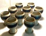 "Hand-Crafted Otagiri Original Stoneware ""Horizon"" Pattern China Goblets"