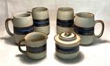"""Hand-Crafted Otagiri Original Stoneware """"Horizon"""" Pattern Grand Mugs"""