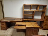 Solid Oak L Shaped Desk and Book Case