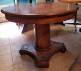 Heavy Solid-Wood Round Pedestal Table
