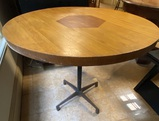 Two-Toned Round Metal-Base Pedestal Table