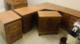 Set of Oak Office Furniture with Corner Desk