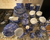 Lot of Crownford Calico-Pattern Blue and White Chintz Pattern Dishes