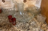 Lot of Pressed Glass Serving Pieces and Red Etched Glasses