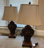 Set of 2 Matching Carved Lamps