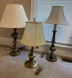 Lot of 3 Brass Lamps