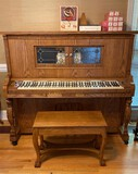 Q.R.S. Oak Player Piano with Bench and Music