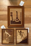 Set of 3 Marquetry-Design Inlay Wood Pieces of Art