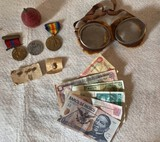 Lot of Miscellaneous Military Items and Foreign Currency